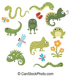 Set funny reptiles - Set of different reptiles on white...