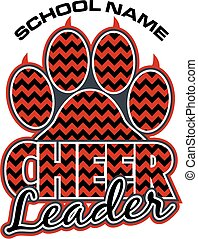 cheerleader paw print - chevron cheerleader team design with...