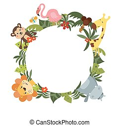 Round frame with African animals