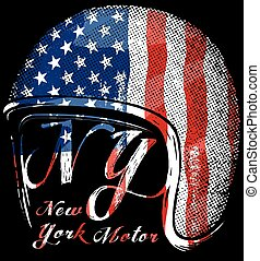 Motorcycle Helmet with American flag . Vector graphic for t...