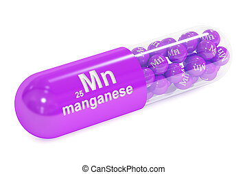 Capsule with manganese Mn element Dietary supplement, 3D...