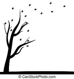 Silhouette of a tree and autumn leaves flying off in the...