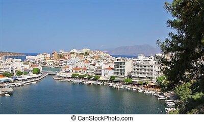 Crete. Greece. Agios Nikolaos. Panorama. Lake Voulismeni. -...