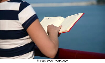 Girl Hold Red Book - Hipster Girl Hands Hold Red Book. Slow...