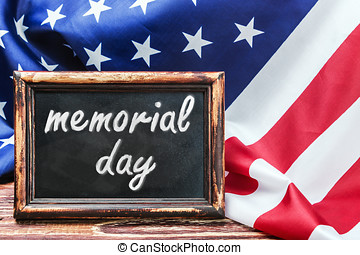 """memorial day"" - American flag on a wooden table with the..."