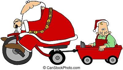 Santa Pulling An Elf In A Wagon