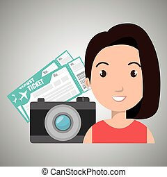 woman camera tickets travel