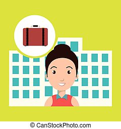 woman hotel service building vector illustration design