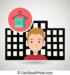 man hotel service building vector illustration design