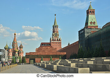 The Kremlin and Lenins mausoleum Red square in Moscow on a...