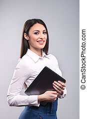 Studio shot of attractive young businesswoman - I promise...