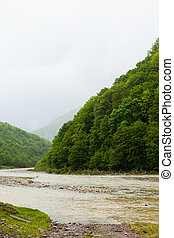 Shellow river and green hills - Amazing view of medow with...