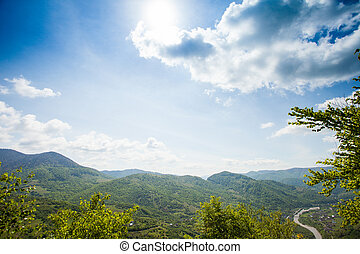 Wonderful scenery of green moutain is on the background of...