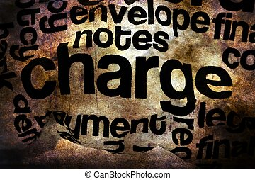 Charge text on crinkled paper grunge concept