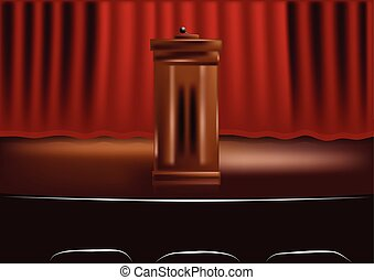 wooden podium tribune and red curtain
