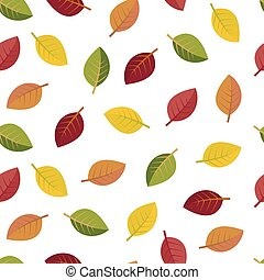 Seamless autumn leaves on a white background vector...