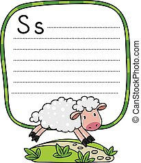 Little funny sheep, for ABC. Alphabet S
