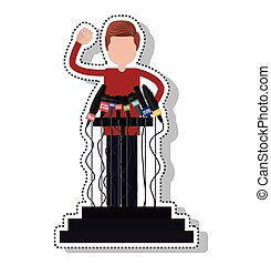 podium with microphones isolated icon vector illustration...