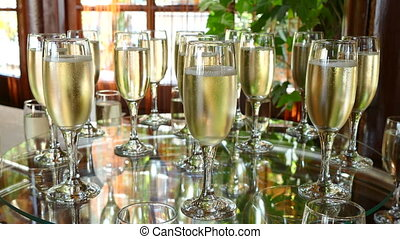 Glasses of Cooled Champagne - Chilled Champagne in Glasses