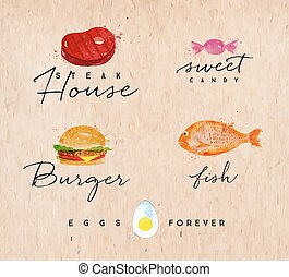 Watercolor label burger kraft - Set of watercolor labels...