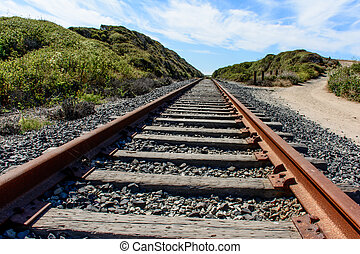 Old Railroad Track Under Blue Sky close to Pacific at...