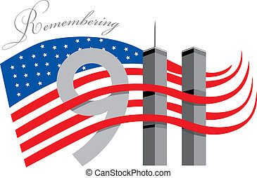 Remember 911 - World trade centre with American Flag