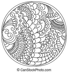 tangled mandalas and shapes in the circle - Hand drawn...