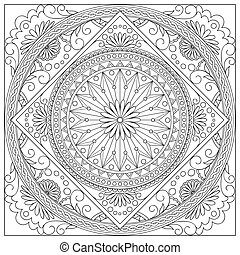 mandala into the square - Mandala with hand drawn elements...