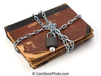 tattered book with chain and padlock