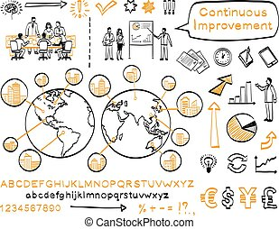 Business doodle set. Vector hand drawn sketch icons....