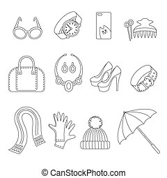 Line icons set of women s Accessories