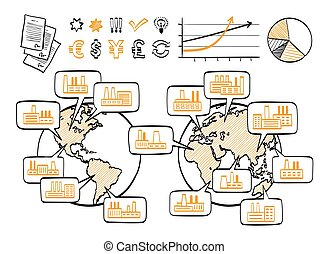 Global business doodle concept Vector hand drawn sketch...