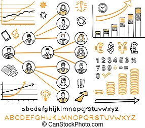 Business doodle set. Vector hand drawn sketch icons in black...