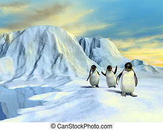 Arctic landscape - A group of cute penguins walking in an...
