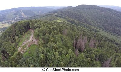 The mountain ridge covered with forest with flag. Mountain landscape. Drone video.