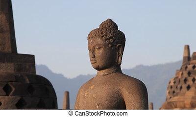 Statue of Buddha in Borobudur templ - Indonesia, Java
