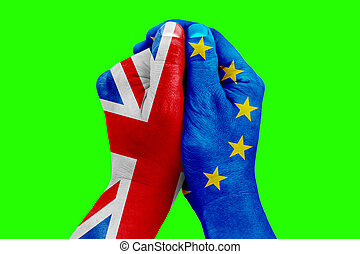 brexit, hand patterned with the flag of the blue european...