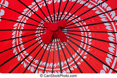 Japanese Red Umbrella - closeup shot of a red Japanese...