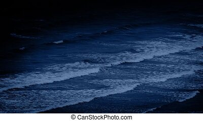 Large Ocean Waves At Night