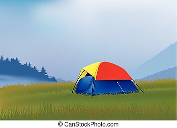 Camping in the mountains - Camping tent for two in the...
