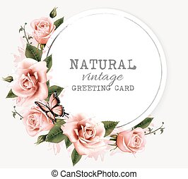 Nature vintage greeting card with beauty flowers and butterfly. Vector.