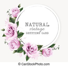 Nature vintage greeting card with beauty flowers. Vector.