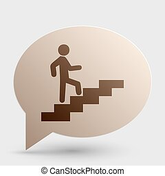 Man on Stairs going up. Brown gradient icon on bubble with shadow.