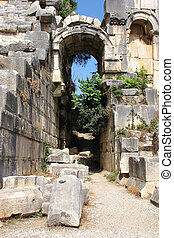 Arch in the ancient amphitheater, Myra, Turkey...