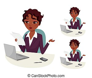 business Doubts - businesswoman with laptop reading a...