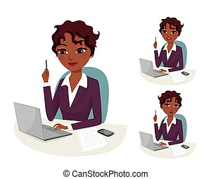 business solution - Attractive business woman working on her...