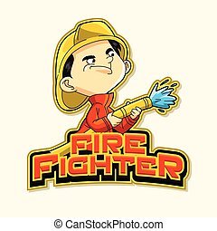 fire fighter logo illustration design