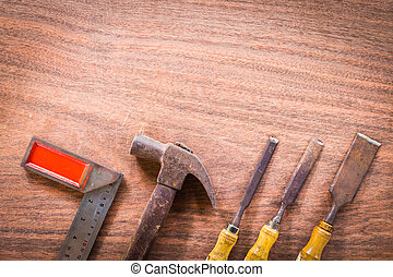 old & grunge set of hand tools many for carpentry on wood...