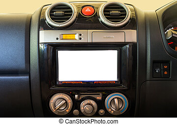 Interior detail of modern luxury car dashboard with big display and alarm button and air conditioner switch button. Screen multimedia system