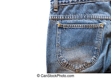 Blue jeans fabric with back pocket on white isolated background. copy space for text